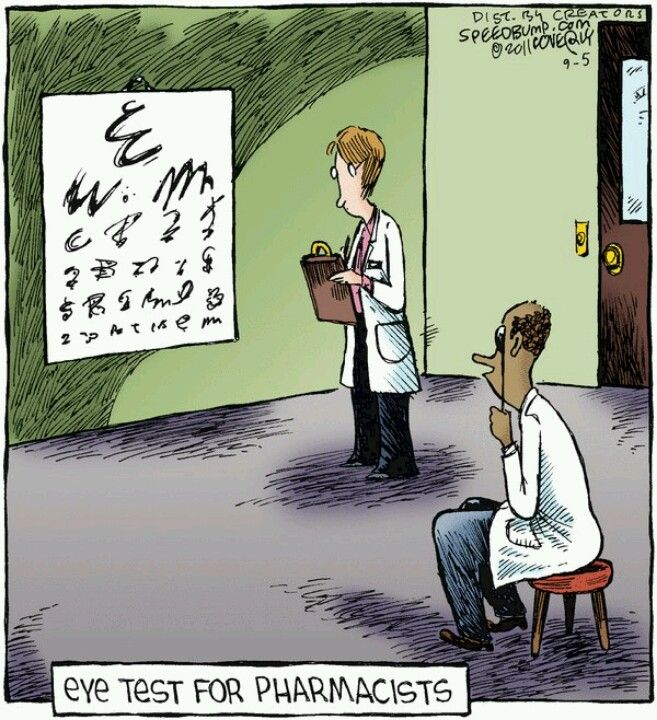 pharmacy cartoon - eye test for pharmacists