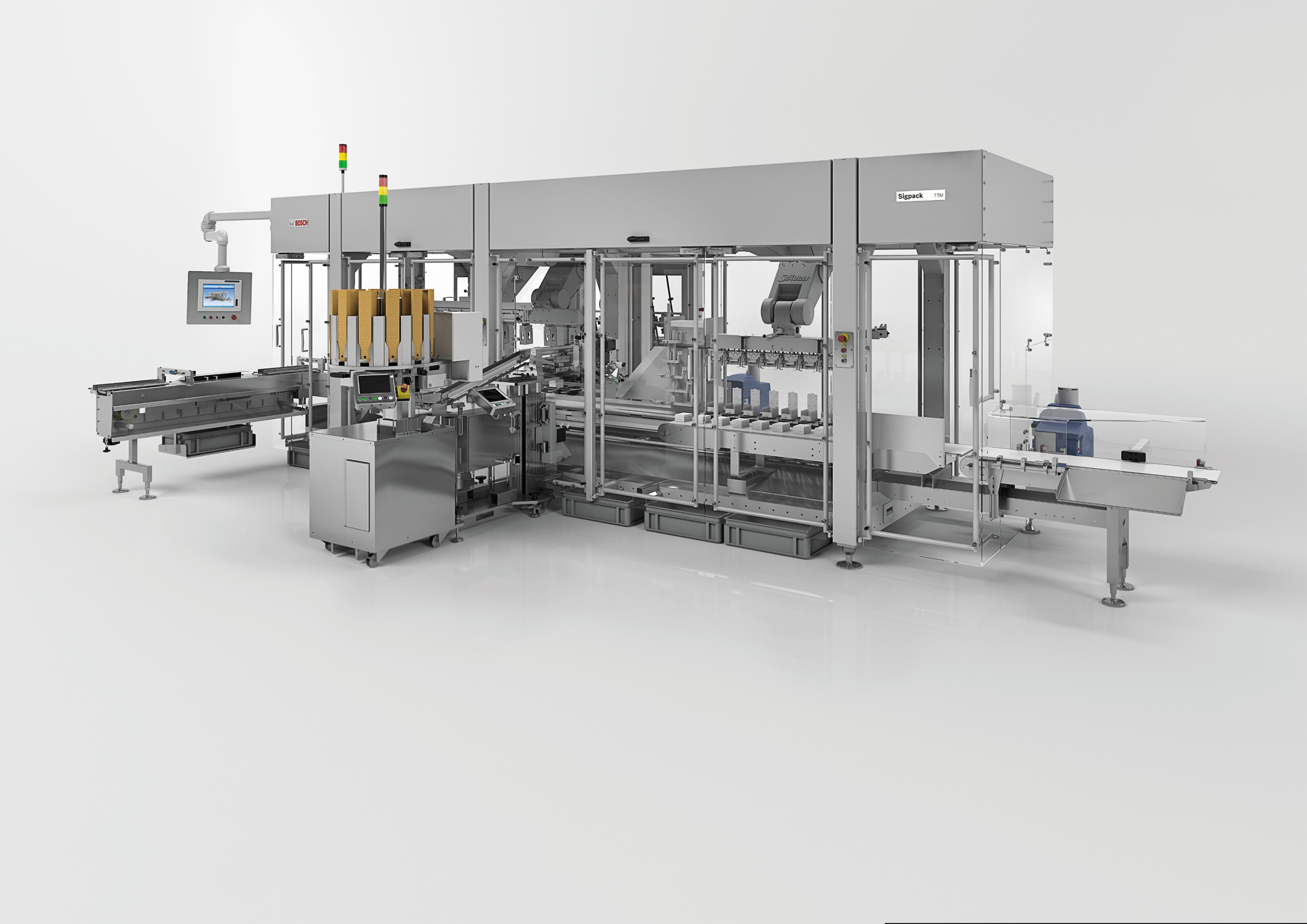 Highly flexible cartoning solution: Sigpack TTMP The new topload cartoner from Bosch is based on the successful TTM platform and is specifically adapted to the needs of pharmaceutical customers.