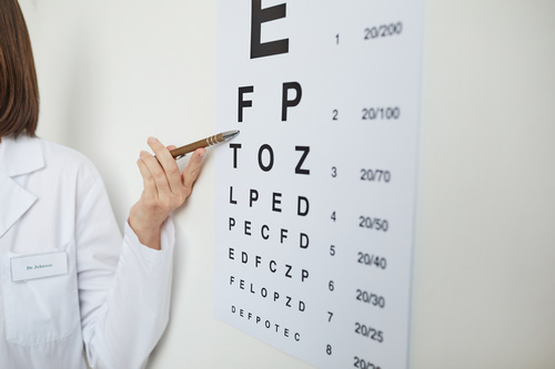 Close up of female hand pointing at eye chart with Latin letters during eyesight test in ophthalmology clinic